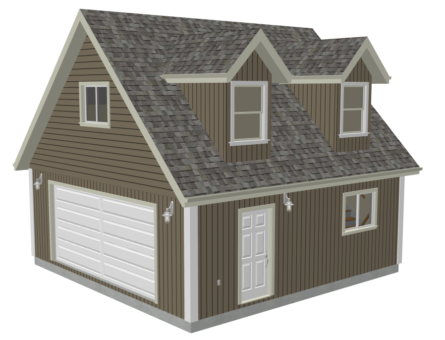 G527 24 x 24 x 8 garage plans with loft and dormer render for 36 x 36 garage with apartment