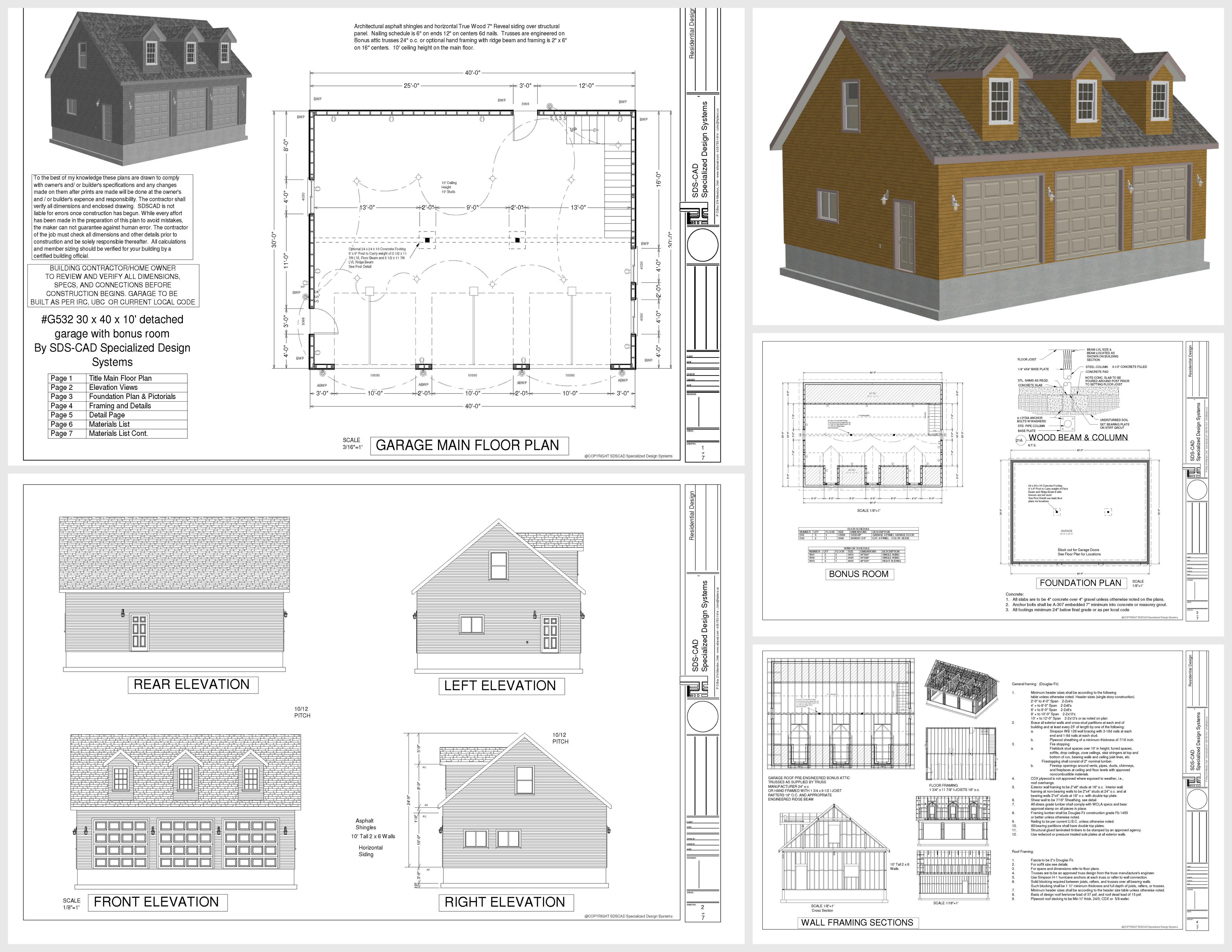 G532 30 x 40 x 10 9 plans for 30 by 40 garage plans